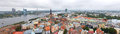 Panorama riga center with daugava river view from above Royalty Free Stock Photos