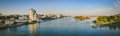 The panorama the river don rostov on don panoramic view from bridge Royalty Free Stock Images