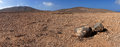 Panorama of rock & volcanic desert, Fuerteventura Royalty Free Stock Images