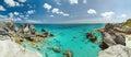 Panorama of rocky Bermuda coast Royalty Free Stock Photo