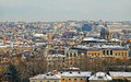 Panorama of rome after snowfall at sunset Royalty Free Stock Image