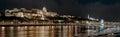 Panorama of Royal Palace or Buda Castle at night. Budapest, Hung Royalty Free Stock Photo