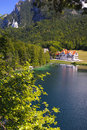 Panorama rural landscape in bavaria with lake alpsee and castle neuschwanstein Stock Photos