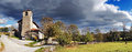 Panorama of rural village with stormy clouds gujuli alava basque country spain Stock Photography