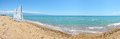 Panorama of sail yachts on the beach on ionian sea at luxury hotel peloponnes greece Stock Photo