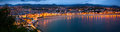 Panorama of San Sebastian in night Royalty Free Stock Photo