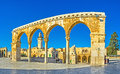 Panorama of the scales of the souls view on landmarks haram al sharif complex through colonnade jerusalem israel Royalty Free Stock Photo