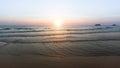 Panorama of sea coast during a wonderful sunset nature Stock Photo
