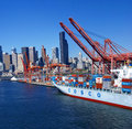 Panorama seattle waterfront skyline with ferry and dockyard cranes puget sound pacific northwest Royalty Free Stock Images