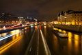 Panorama seine pont au change paris night Royalty Free Stock Images