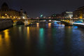 Panorama seine pont notre dame pont au change paris night Royalty Free Stock Photo