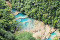 Panorama of semuc champey an amazing view a breathtaking place in the middle the forest guatemala Stock Image