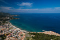 Panorama of the sicilian coastline near Cefalu Royalty Free Stock Photo