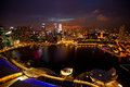 Panorama of Singapore in the night time Royalty Free Stock Photo