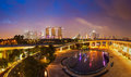 Panorama of singapore skyline tracel background illumintaed in the evening twilight Royalty Free Stock Images