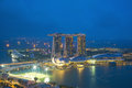 Panorama of Singapore skyscraper in marina bay at night Royalty Free Stock Photo