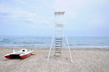 Panorama of the sinigallia beach with the presence of the lifeg lifeguard house Royalty Free Stock Photography