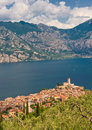 Panorama of Sirmione village and Lake Garda, Italy Stock Images
