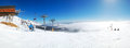 Panorama of a slope in strbske pleso ski resort high tatras slovakia Royalty Free Stock Photo