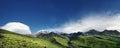 Panorama of snowy mountain at sunrise elbrus in caucasus Stock Photos