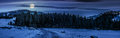panorama of snowy road through spruce forest in mountains at night Royalty Free Stock Photo