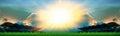 Panorama soccer sport stadium and sun shining over sky Royalty Free Stock Photo