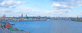 The panorama of stockholm sweden october panoramic view gamla stan with skeppsbron quay church towers and colorful facades Stock Images
