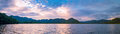 Panorama Sunset view on the lake. Royalty Free Stock Photo
