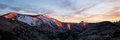 Panorama of sunset at Yosemite and Half Dome Royalty Free Stock Photo