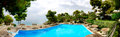 Panorama of swimming pool near beach at the luxury hotel peloponnes greece Stock Photo