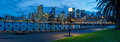 Panorama of sydney s skyline and harbour in the evening Stock Images