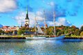 Panorama of tallinn estonia scenic summer pier with historical tall sailing ship in the old town in Royalty Free Stock Photo