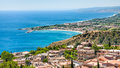 Panorama with Taormina and giardini naxos towns Royalty Free Stock Photo