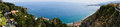 Panorama of Taromina city coast with Giardini Naxos in Sicily Royalty Free Stock Photo