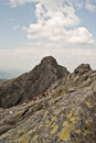 Panorama of Tatry Mts. peak from Orla Perc hiking trail Royalty Free Stock Photo