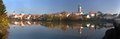 Panorama telc or teltsch town mirroring in lake morning panoramic view of czech republic Royalty Free Stock Image