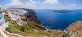 Panorama of Thira in Santorini island, Greece Royalty Free Stock Photo