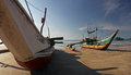 Panorama traditional fishing boat sri lanky ceylon asia Royalty Free Stock Image