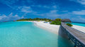 Panorama of a tropical beach near ocean at Maldives Royalty Free Stock Photo