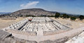 Panorama of tula ruins mexico aerial view with mountain in the background Stock Photos