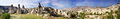 Panorama of the Uchisar valley and the city of Goreme. Royalty Free Stock Photo
