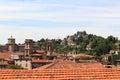 Panorama of upper city Citta Alta with hill San Vigilio in Bergamo Royalty Free Stock Photo