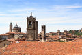 Panorama of upper city Citta Alta with towers in Bergamo Royalty Free Stock Photo