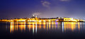 The panorama of valletta in night illumination sliema malta Royalty Free Stock Photos