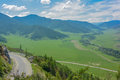 Panorama of the valley in the Altai Mountains Royalty Free Stock Photo
