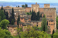 Panorama view of Alhambra palace as seen from Generalife, Granada, Andalusia Royalty Free Stock Photo