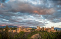 Panorama view of Alhambra palace, Granada, Spain Royalty Free Stock Photography