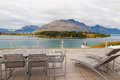 Panorama view of autumn leaves lake and mountains in Queenstown ,   New Zealand Royalty Free Stock Photo