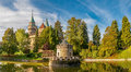 Panorama View at The Bojnice Castle with a Lake and Tower Royalty Free Stock Photo