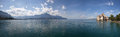 The panorama view of chillon castle and lake geneva in switzerla Stock Image